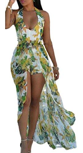 Jaycargogo Femmes Licol V Cou Dos Nu Devant Diviser Bohême Floral Short Robe Imprimé Maxi Plage Verte
