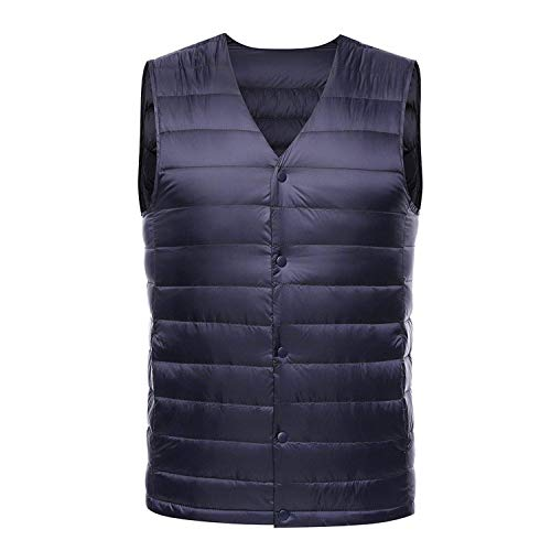 Yakke Outerwear Light Down Vest Men Spring Autumn Sleeveless Collarless Vest Male Casual Winter White Duck Down Waistcoat,XX-Large,Blue