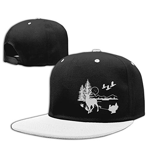 (Adult Unisex Funny Print Hiphop Wildlife Scene Silhouette Flatbrim Outdoor Caps White )
