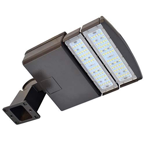 DOCHEER 100W LED Parking Lot Lights Fixture - LED Shoebox Pole Light Flood Lighting - 12000 Lm - 5300K- Outdoor Commercial Area Street Security Lighting - D2 Arm Mount ()
