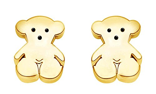 14K Yellow Gold Over Sterling Silver Teddy Bear Stud (14k Gold Fashion Bear)