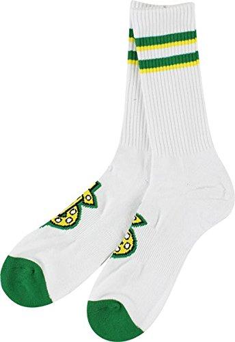 Shake Junt Classic Crew Socks White/Green Single Pair