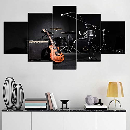 - Black and White Wall Art Musical Instruments Pictures Concert Paintings 5 Piece Canvas Wall Art Home Decor for Living Room Modern Artwork Wooden Framed Ready to Hang Posters and Prints(60''Wx32''H)