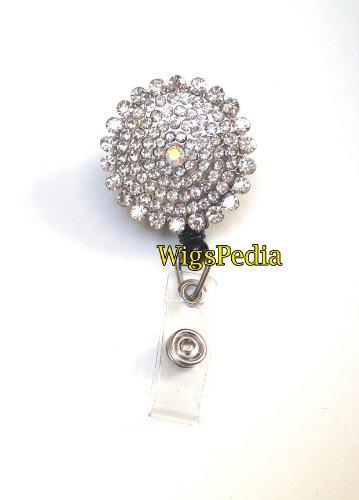 Sparkles! Round Diamond Sunflower JeweledFlower Rhinestone Retractable Badge Reel/ ID Badge Holder / Brooch / Pendant / Id Badge Holder