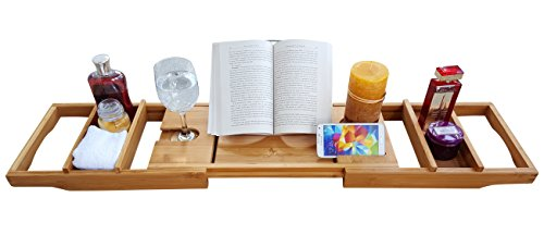 Purvae Luxury Bathtub Caddy With Candle & Book Holder - Natural Organic Bamboo Wood Tub Shower Organizer Tray, Tablet Wine Glass Holder Extending Sides, Bathroom Accessories Storage, Fits all Bathtubs
