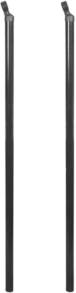vidaXL 2x Postes Puntal Valla Metálica 195 cm Gris Estaca Cerca Reja Cercado