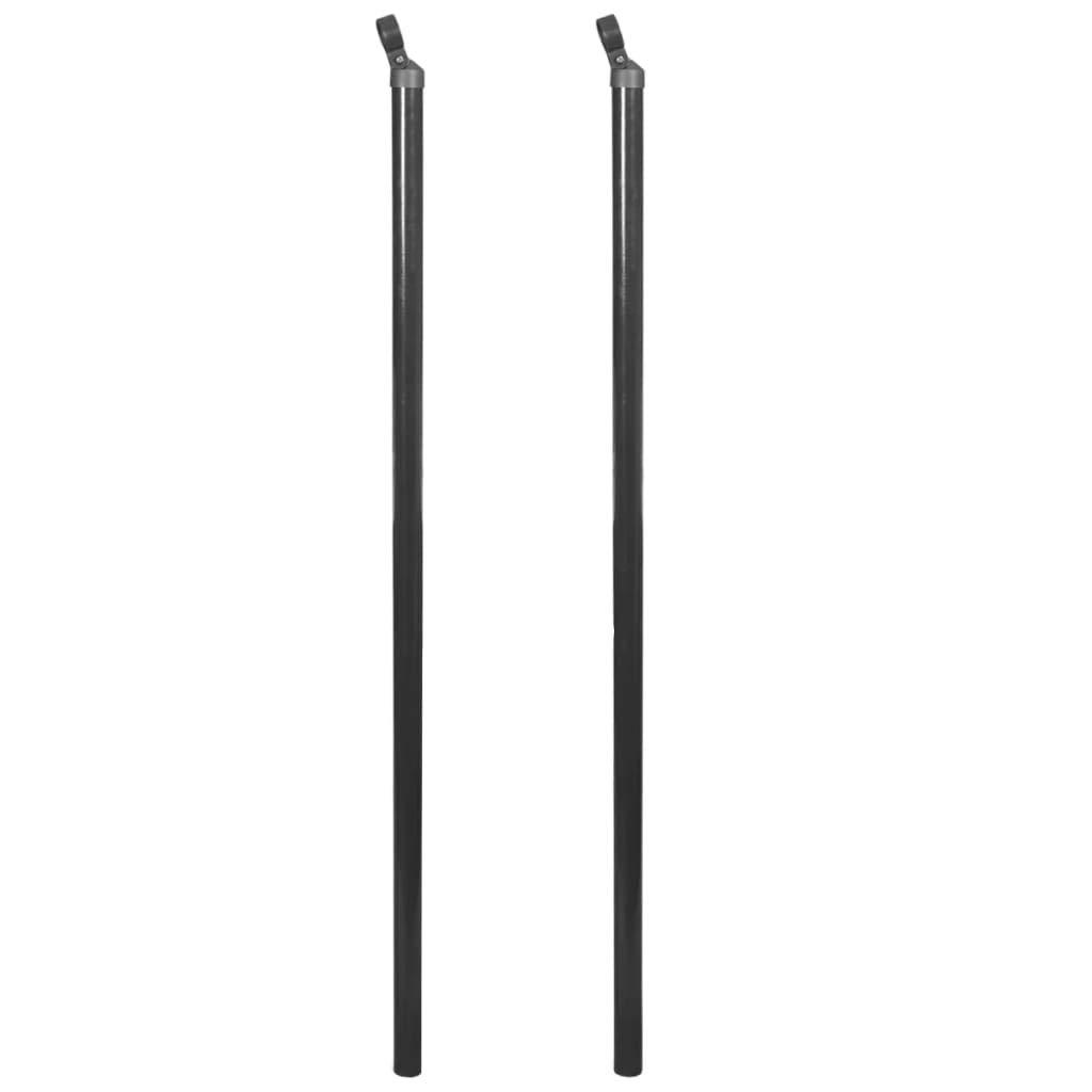 vidaXL 2x Postes Puntal Valla Met/álica 195 cm Gris Estaca Cerca Reja Cercado