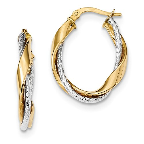 - 14k Two Tone Yellow Gold Rope Twisted Oval Hoop Earrings Ear Hoops Set Fine Jewelry Gifts For Women For Her