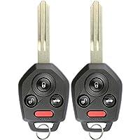 KeylessOption Keyless Entry Remote Car Key Fob Blank Uncut Chip Ignition for Impreza WXR STI Forester CWTWB1U811 (Pack of 2)