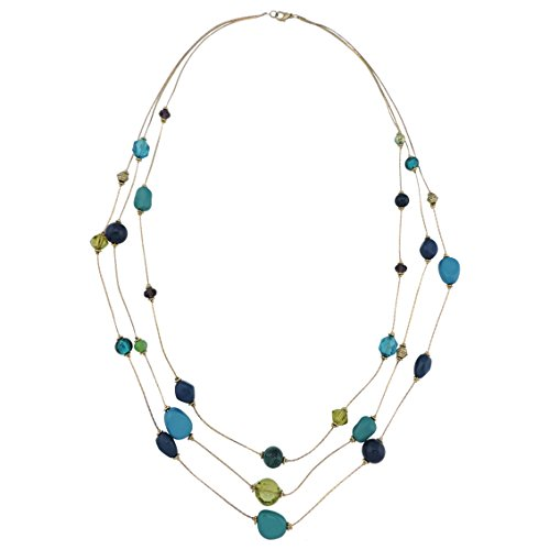 COIRIS 3 Layers Illusion Wire Long Statement Necklace for Women Blue Green Beaded (N0006)