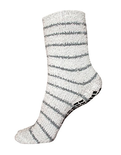 #1 Non Slip Socks, THE BEST Adult Hospital and Home Care Socks, Skid Resistant, Slipper Socks, Unisex Gripper Socks Grey Slipper