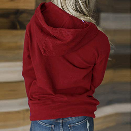 Delgados Sport Sudadera Camisetas Coat Sunnywill Casual Manga Vino Abrigos Sobretodo Mujer Capucha Del Mujeres Con Invierno Larga Grueso Otoño Remiendo 0FqPTwq