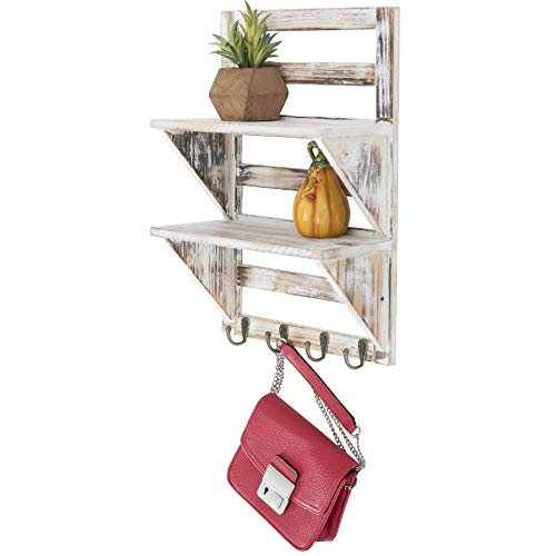 Excello Global Products 2-Tier Rustic Whitewashed Mounted Wood Wall Shelf with Shabby Chic, Farmouse Decor with 4 Hooks. Perfect For Any Room