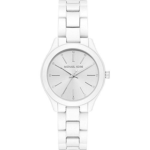 Michael Kors Watches Womens Mini Slim Runway White Coated Stainless Steel Watch