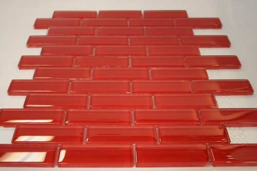 (Elixir Ruby Red Brick 1 in. x 3 in. Glass Mosaic Tile)