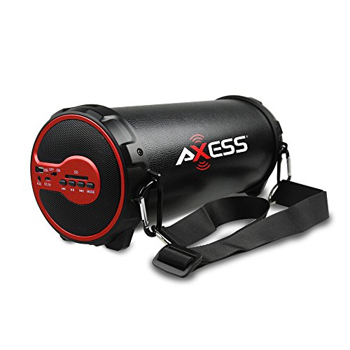 AXESS SPBT1038RD Portable Bluetooth Indoor/Outdoor 2.1 Hi-Fi Cylinder Loud Speaker with Built-In 3 Sub and SD Card, USB, AUX Inputs in Red