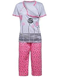 Happy Mama. Womens Maternity Top T-shirt Breastfeeding Pyjamas Crop Pants. 076p