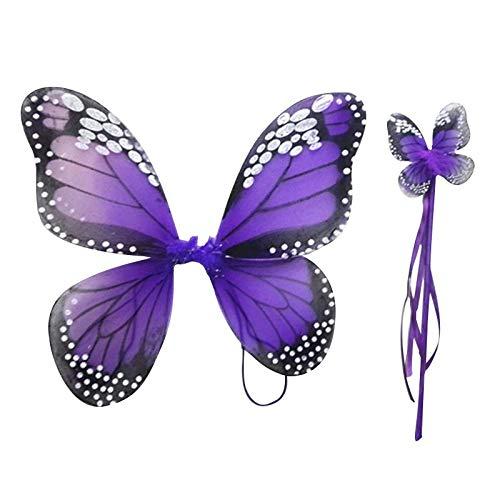 SaveStore 2 PCS Monarch Butterfly Wing Headband Sparklers Glitter Cosplay Costume Fairy Costume Halloween Children Girl