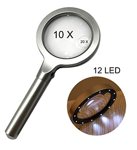 Large LED Handheld Magnifying Glass,10 X 20X Full Metal Lighted Magnifier - Best Size Illuminated Reading Magnifier for Reading,Inspection,Hobbies and Macular Degeneration by Ms Story
