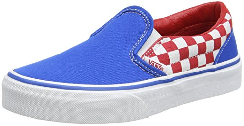 Vans UY Classic Slip-On, Zapatillas Para Niños Azul (Checkerboard Racing Red/imperial Blue)