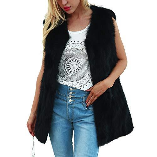 AOJIAN Women Jacket Sleeveless Outwear Plush Vest Pure Color Waistcoat Gilet Coat Black