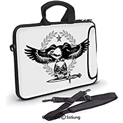 12 inch Laptop Case,Black and White Bird Nested on a Skull Dagger in Mouth Dangerous Animal Decorative Neoprene Laptop Shoulder Bag Sleeve Case with Handle and Carrying & External Side Pocket,for Netb