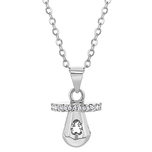 - 925 Sterling Silver Pacifier Charm New Mom Pink Cubic Zirconia Necklace for Women 18