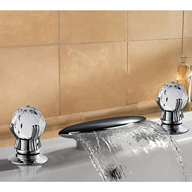 Miaoge Contemporary Two Handle Solid Brass Chrome Finish Waterfall Bathroom Sink tap