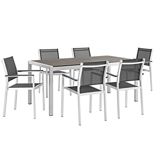Modway Shore 7-Piece Aluminum Outdoor Patio Dining Table Set in Silver Black