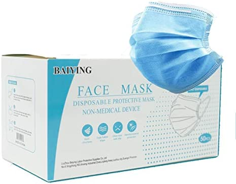 Baiying 3-Ply Disposable Face Mask, Adult, One Size, Box of fifty
