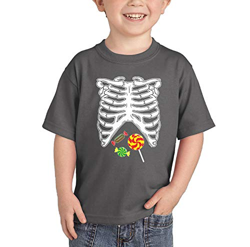 HAASE UNLIMITED Skeleton Ribcage with Candy - Costume Infant/Toddler Cotton Jersey T-Shirt (Charcoal, 4T)