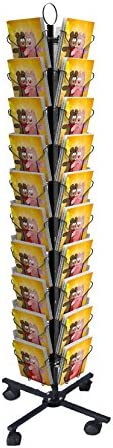 Vertical Black Greeting Card Display Spinning Greeting Holiday Card Rack Floor Stand 11704-2D FixtureDisplays 5.8 Wide Pocket Fits 5x7