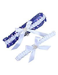 White Blue Satin Wedding Bridal Lace Garter Set Keepsake Toss Tradition Vintage