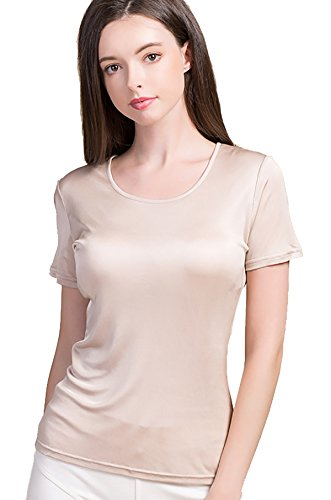 救援方言本土(ケイミ)KEIMI レディース 100%シルク カップ付き  半袖Tシャツ カットソー 無地 トップス 吸湿速乾 冷えとり スポーツ ランニング スポーツウェア 半袖Tシャツ ヨガ カップ付き