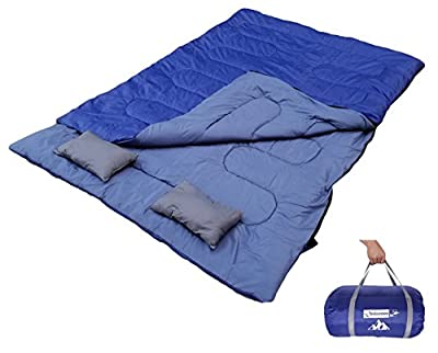 OutdoorsmanLab Double Sleeping Bag With 2 Pillow and Carrying Bag For Camping, Backpacking, Traveling- 4 Season Cold Weather 2 Person Bag For Kids, Family, Couples