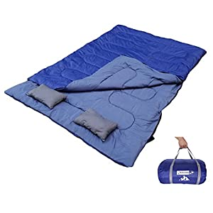 Outdoorsman Lab OutdoorsmanLab Double Sleeping Bag 4738F With 2 Pillows And Carrying Bag For Camping Backpacking Traveling 3 4 Season Two Person Bags For Kids Family Couples