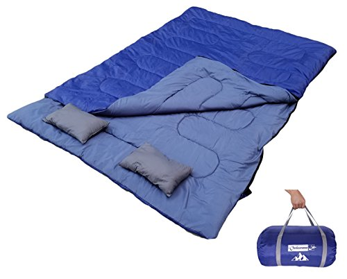 OutdoorsmanLab Double Sleeping Bag (32F) with 2 Pillow and Carrying Bag For Camping, Backpacking, Traveling- 4 Season Cold Weather 2 Person Bag For Kids, Family, Couples