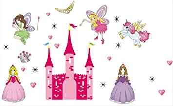 Array - mercurymall    pink princess castle wall stickers 3d reusable self      rh   amazon co uk
