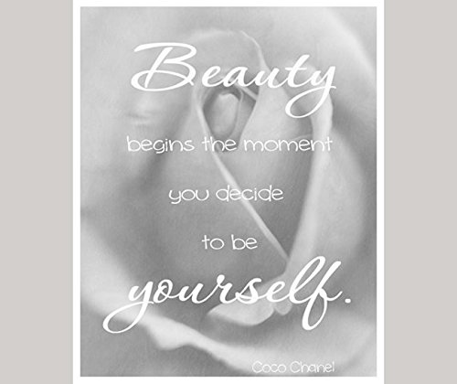 Inspirational Quote Photography Print, Beauty Begins Be Yourself Chanel Quote, Positive Affirmation Motivational Girls Room Bedroom Decor, Dorm Wall Art, Gift for - Grey Chanel