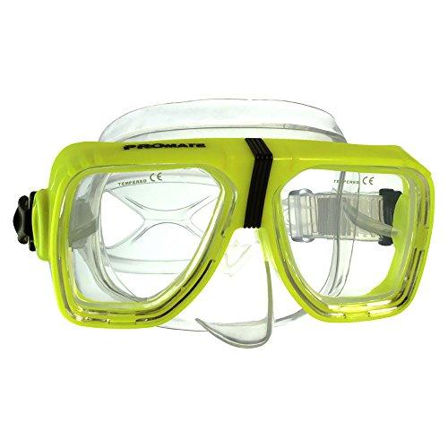BiFocal Gauge Reading Scuba Dive Snorkeling Mask Prescription Lenses, Yellow, Bifocal+3.5