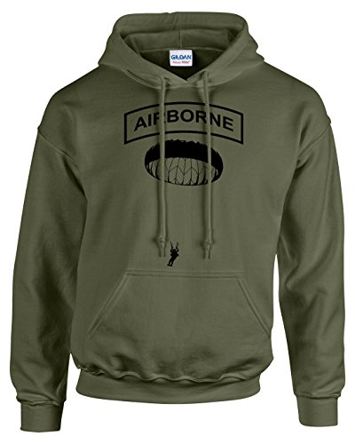 Airborne Hooded Sweatshirt (Pro Art Shirts Men's Airborne Jump Hoodie XLarge Army)