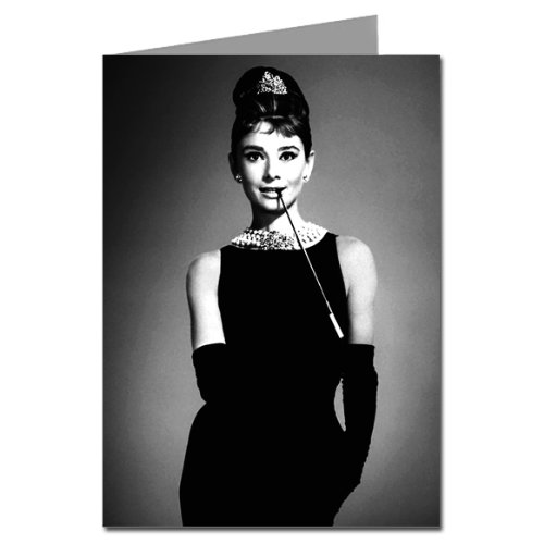 Single Greeting Card Of Audrey Hepburn As Holly Golightly With Her Signature Cigarette Holder and LBD In Breakfast At Tiffany's (Tiffany Signature)