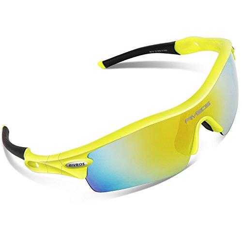 RIVBOS 805 Polarized Sports Sunglasses Sun Glasses with 5 Set Interchangeable Lenses for Men Women Cycling Baseball - Green Lenses
