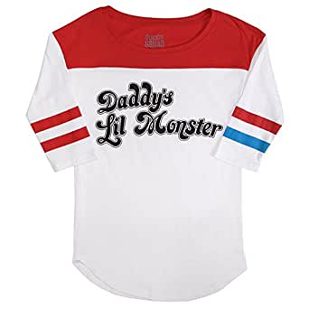 Suicide Squad Harley Quinn Daddys Lil Monster Raglan T-shirt (Small, White)