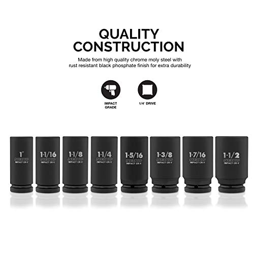 "Neiko 02461A 3/4"" Drive Deep Impact Socket Set, 8 Piece Jumbo Assortment | Standard SAE Sizes (1-Inch to 1-1/2-Inch) | Chrome Vanadium Steel"