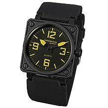 INFANTRY Men's Analog Quartz Wrist Watch Square Sport Military Army Black Rubber Band