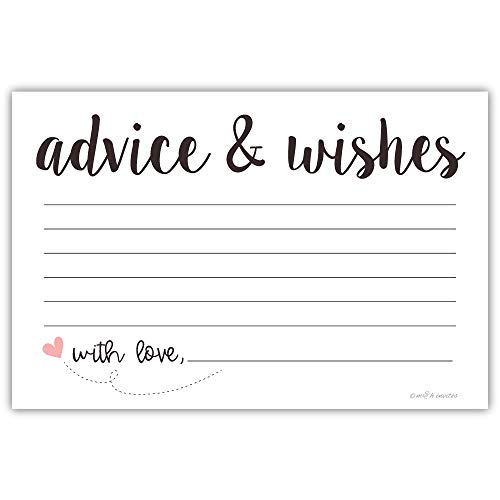 Classic Advice and Wishes Cards (50 Pack) Any Occasion - Bridal Shower, Bride and Groom at Wedding, Baby Shower -