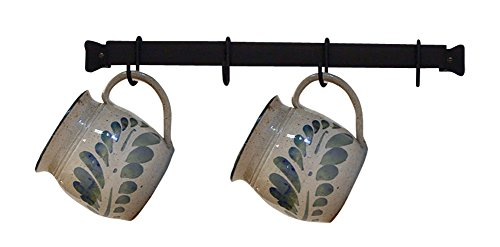 Wall Mount Mug : Iron mug cup rack wall mount hanger black metal