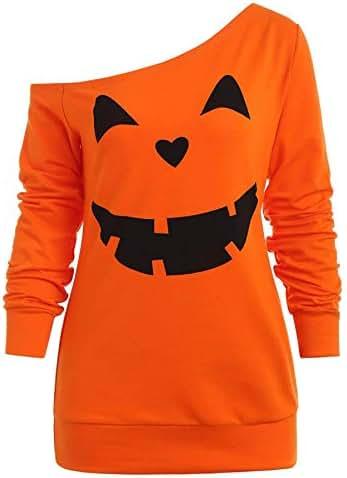 Halloween Tops for Women Sexy Fashion Pumpkin Print Long Sleeve Skew Collar Pullover Sweatshirt Loose Blouse