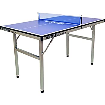 Kettler Junior Mid Sized Collapsible Indoor Table Tennis Table, Blue Top